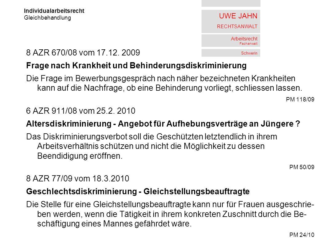 UWE JAHN RECHTSANWALT Arbeitsrecht Fachanwalt Schwerin 8 AZR 670/08 vom 17.12.