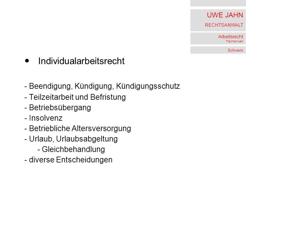 UWE JAHN RECHTSANWALT Arbeitsrecht Fachanwalt Schwerin 3 AZR 660/09 vom 19.