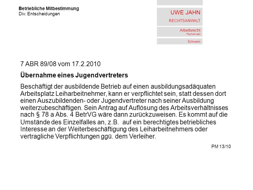 UWE JAHN RECHTSANWALT Arbeitsrecht Fachanwalt Schwerin Betriebliche Mitbestimmung Div.