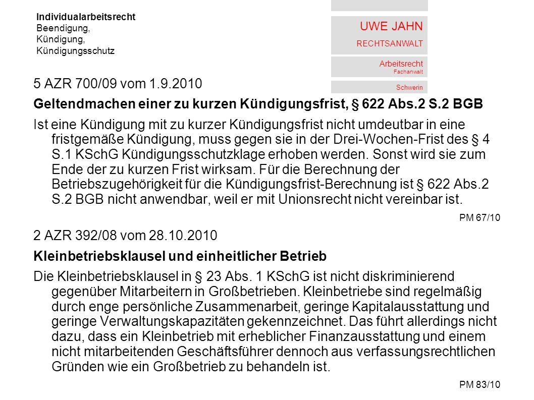 UWE JAHN RECHTSANWALT Arbeitsrecht Fachanwalt Schwerin 5 AZR 74/08 vom 3.