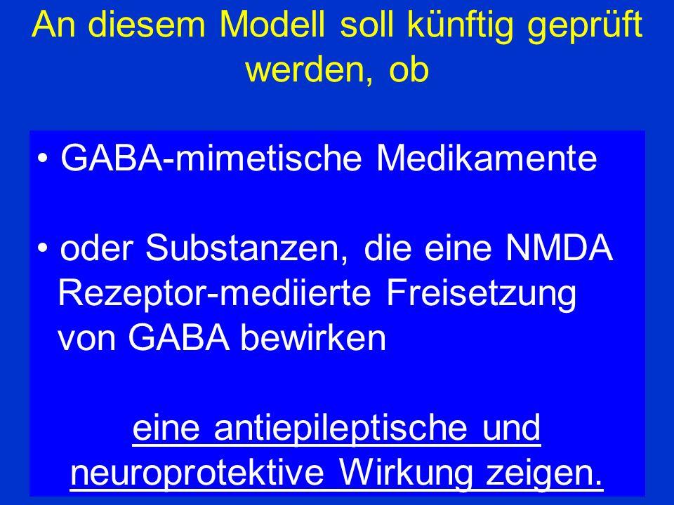 Resumè An diesem Modell soll künftig geprüft werden, ob GABA-mimetische Medikamente oder Substanzen, die eine NMDA Rezeptor-mediierte Freisetzung von