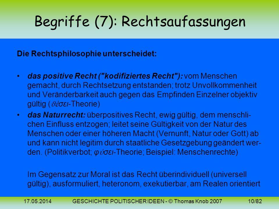 17.05.2014GESCHICHTE POLITISCHER IDEEN - © Thomas Knob 20079/82 Begriffe (6): Das Recht Unter Recht versteht man ein in Systemen organisiertes Normenk