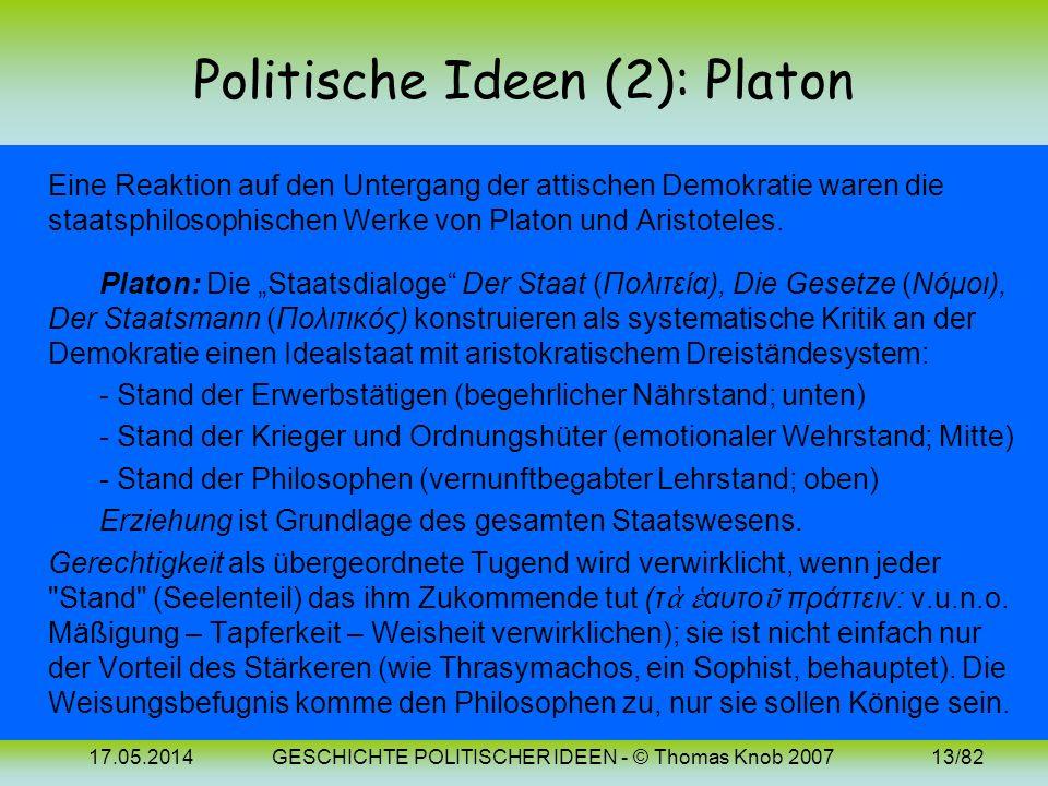 17.05.2014GESCHICHTE POLITISCHER IDEEN - © Thomas Knob 200712/82 Politische Ideen (1): Attische Polis Politische Ideengeschichte könnte mit den Anfäng