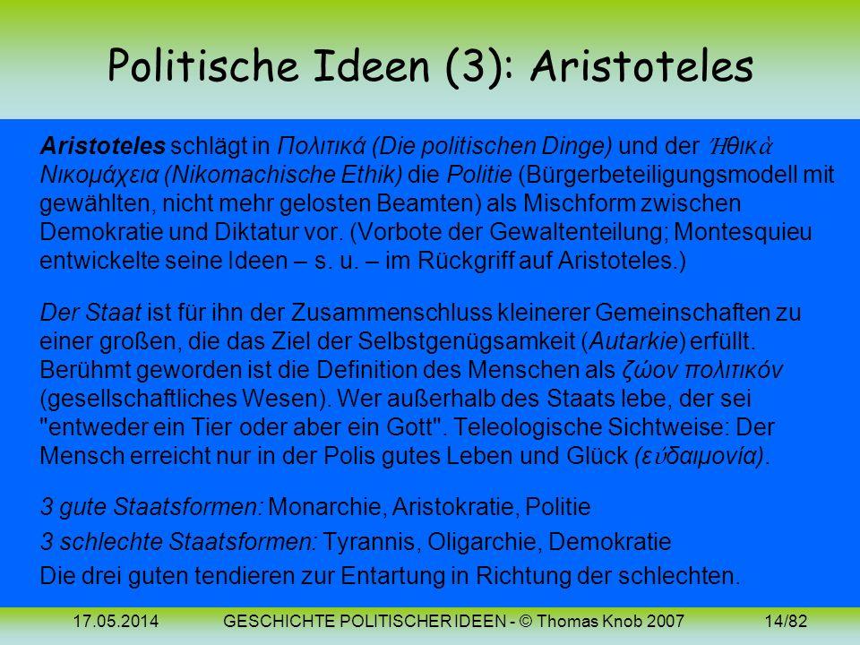 17.05.2014GESCHICHTE POLITISCHER IDEEN - © Thomas Knob 200713/82 Politische Ideen (2): Platon Eine Reaktion auf den Untergang der attischen Demokratie