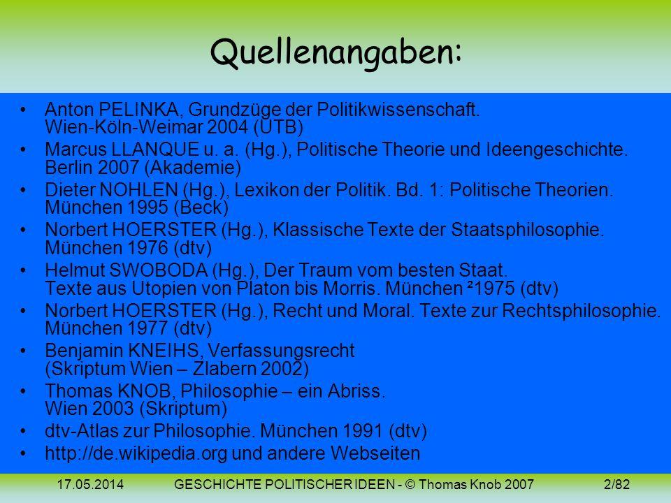 17.05.2014GESCHICHTE POLITISCHER IDEEN - © Thomas Knob 20072/82 Quellenangaben: Anton PELINKA, Grundzüge der Politikwissenschaft.