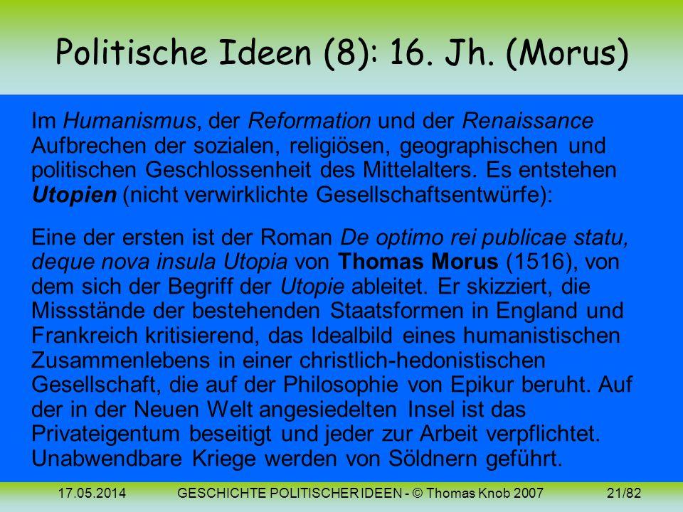 17.05.2014GESCHICHTE POLITISCHER IDEEN - © Thomas Knob 200720/82 Politische Ideen (7): Mittelalter Scholastische Naturrechtslehre: drückt die soziale