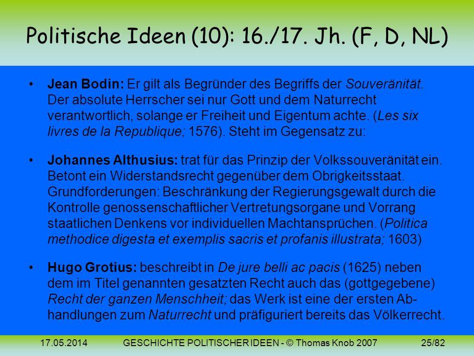 17.05.2014GESCHICHTE POLITISCHER IDEEN - © Thomas Knob 200724/82 Politische Ideen (9): Bilder Niccolo Machiavelli (1469-1527)