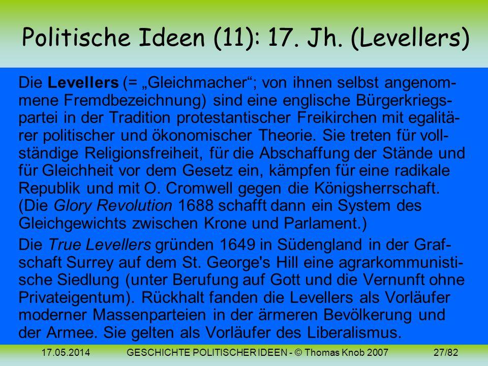 17.05.2014GESCHICHTE POLITISCHER IDEEN - © Thomas Knob 200726/82 Politische Ideen (10): Bilder Jean Bodin Johannes Althusius Hugo Grotius (1530-1596)