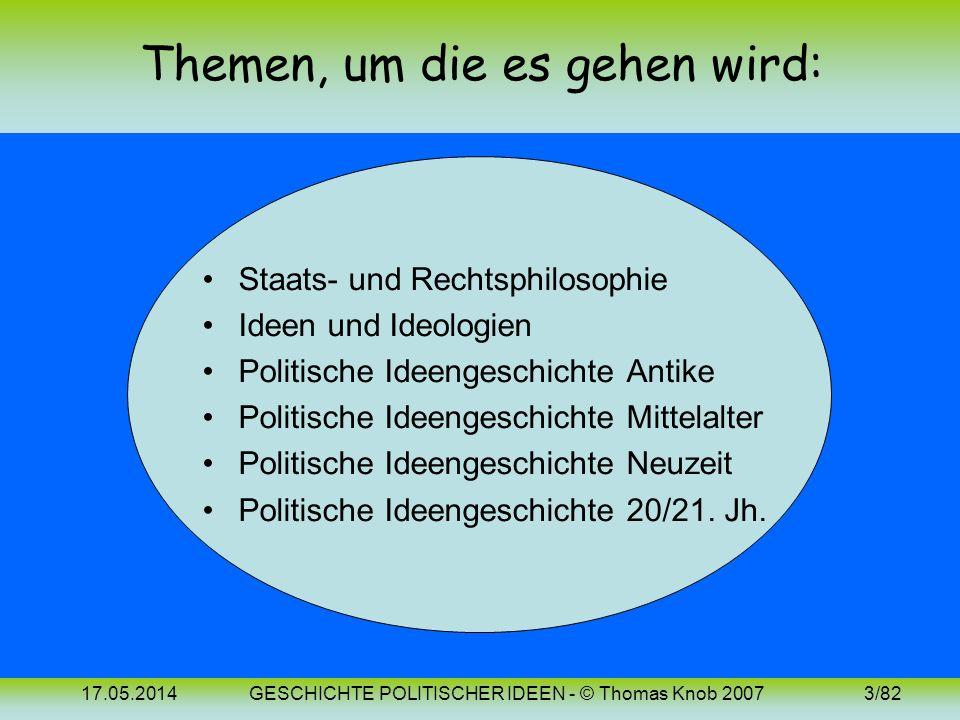 17.05.2014GESCHICHTE POLITISCHER IDEEN - © Thomas Knob 20072/82 Quellenangaben: Anton PELINKA, Grundzüge der Politikwissenschaft. Wien-Köln-Weimar 200