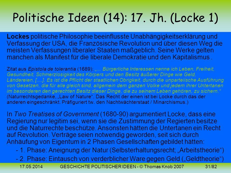 17.05.2014GESCHICHTE POLITISCHER IDEEN - © Thomas Knob 200730/82 Politische Ideen (12-13): Bilder Thomas Hobbes Baruch Spinoza (1588-1679) (1632-1677)