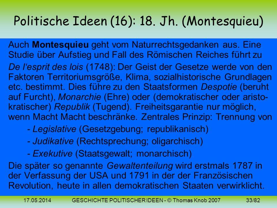 17.05.2014GESCHICHTE POLITISCHER IDEEN - © Thomas Knob 200732/82 Politische Ideen (15): 17. Jh. (Locke 2) Zusammenfassung der Staatsvorstellungen von