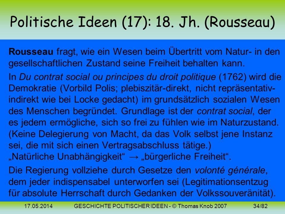 17.05.2014GESCHICHTE POLITISCHER IDEEN - © Thomas Knob 200733/82 Politische Ideen (16): 18. Jh. (Montesquieu) Auch Montesquieu geht vom Naturrechtsged
