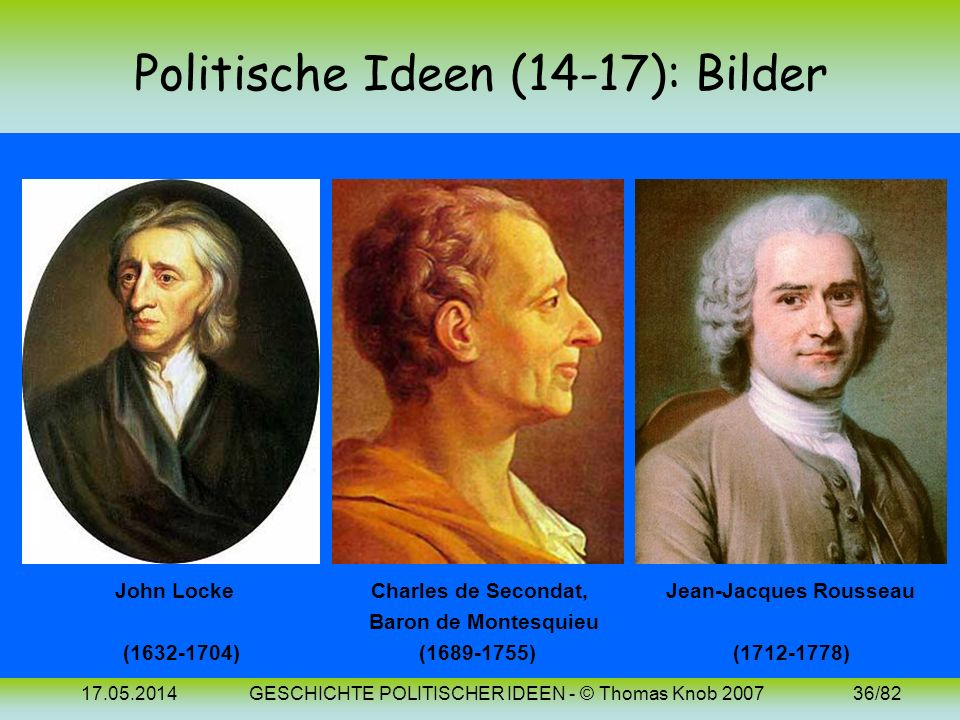 17.05.2014GESCHICHTE POLITISCHER IDEEN - © Thomas Knob 200735/82 Politische Ideen (12/17): Vergleich Die folgende Tabelle stellt die Ideen von Hobbes