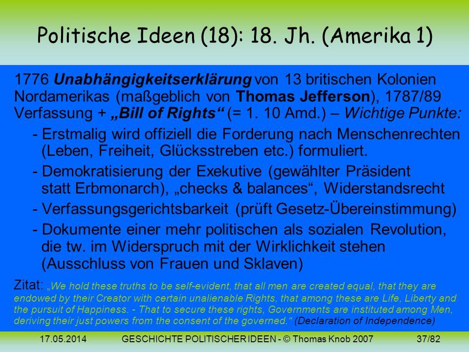 17.05.2014GESCHICHTE POLITISCHER IDEEN - © Thomas Knob 200736/82 Politische Ideen (14-17): Bilder John Locke Charles de Secondat, Jean-Jacques Roussea