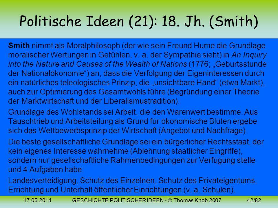 17.05.2014GESCHICHTE POLITISCHER IDEEN - © Thomas Knob 200741/82 Politische Ideen (20): 18. Jh. (Hume) Für Hume ist der Naturzustand des Menschen durc