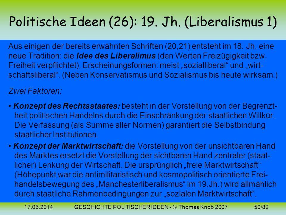 17.05.2014GESCHICHTE POLITISCHER IDEEN - © Thomas Knob 200749/82 Politische Ideen (24-25): Bilder Immanuel Kant I. Kant Johann Gottlieb Fichte (1724-1