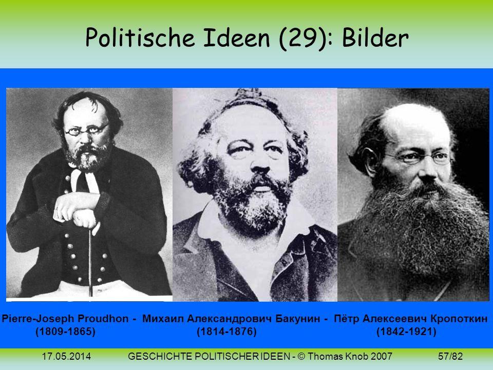 17.05.2014GESCHICHTE POLITISCHER IDEEN - © Thomas Knob 200756/82 Politische Ideen (29): 19. Jh. (Anarchie) Als Gegenentwurf zu Monarchie und Demokrati