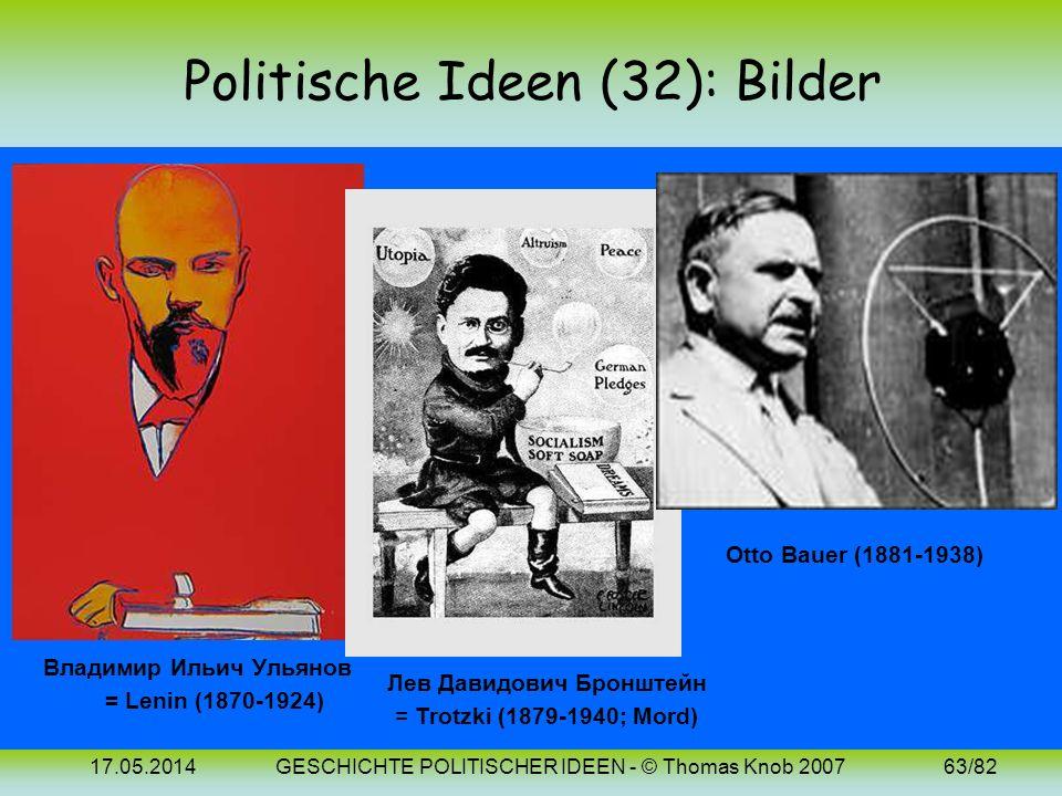 17.05.2014GESCHICHTE POLITISCHER IDEEN - © Thomas Knob 200762/82 Politische Ideen (32): 20. Jh. (Sozialismus 3) Der postmarxistische Sozialismus entwi