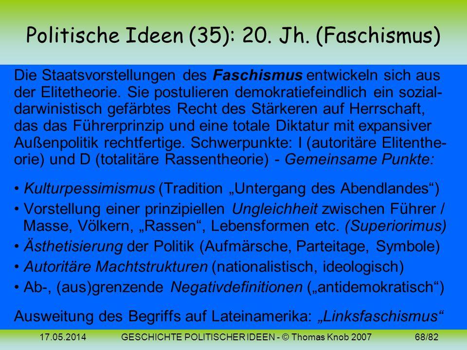 17.05.2014GESCHICHTE POLITISCHER IDEEN - © Thomas Knob 200767/82 Politische Ideen (34): Bilder Vilfredo Pareto (1848-1923) Gaetano Mosca (1858-1941) R