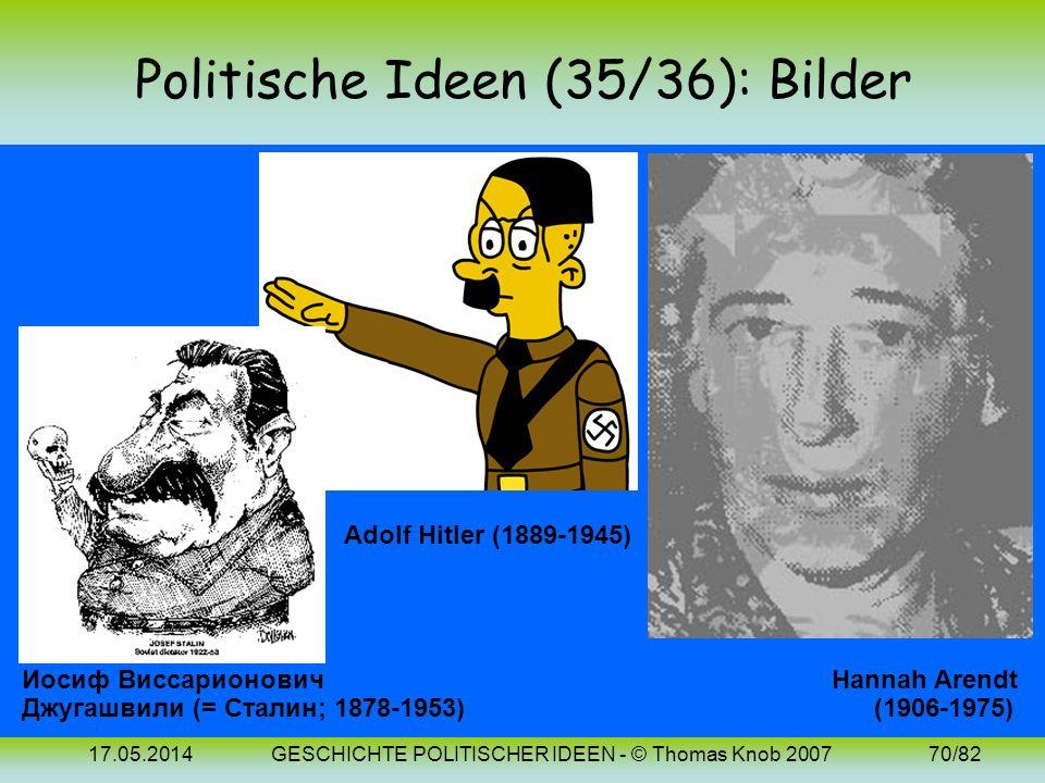 17.05.2014GESCHICHTE POLITISCHER IDEEN - © Thomas Knob 200769/82 Politische Ideen (36): 20. Jh. (Totalitarismus) Im Unterschied zu normalen autoritäre