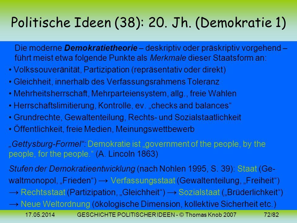 17.05.2014GESCHICHTE POLITISCHER IDEEN - © Thomas Knob 200771/82 Politische Ideen (37): 20. Jh. (Fallibilismus) In Die offene Gesellschaft und ihre Fe