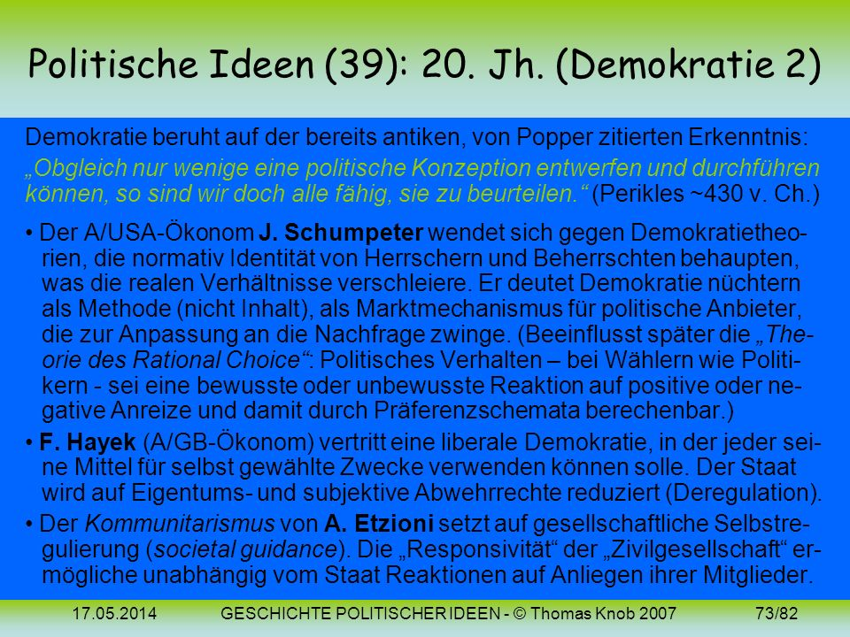 17.05.2014GESCHICHTE POLITISCHER IDEEN - © Thomas Knob 200772/82 Politische Ideen (38): 20. Jh. (Demokratie 1) Die moderne Demokratietheorie – deskrip