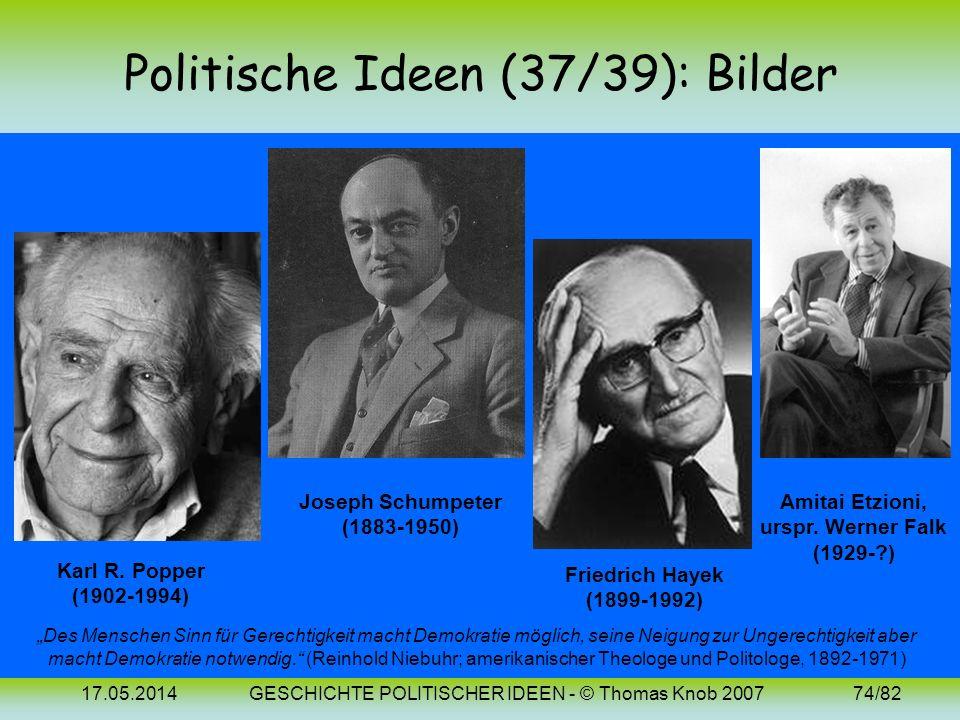 17.05.2014GESCHICHTE POLITISCHER IDEEN - © Thomas Knob 200773/82 Politische Ideen (39): 20. Jh. (Demokratie 2) Demokratie beruht auf der bereits antik