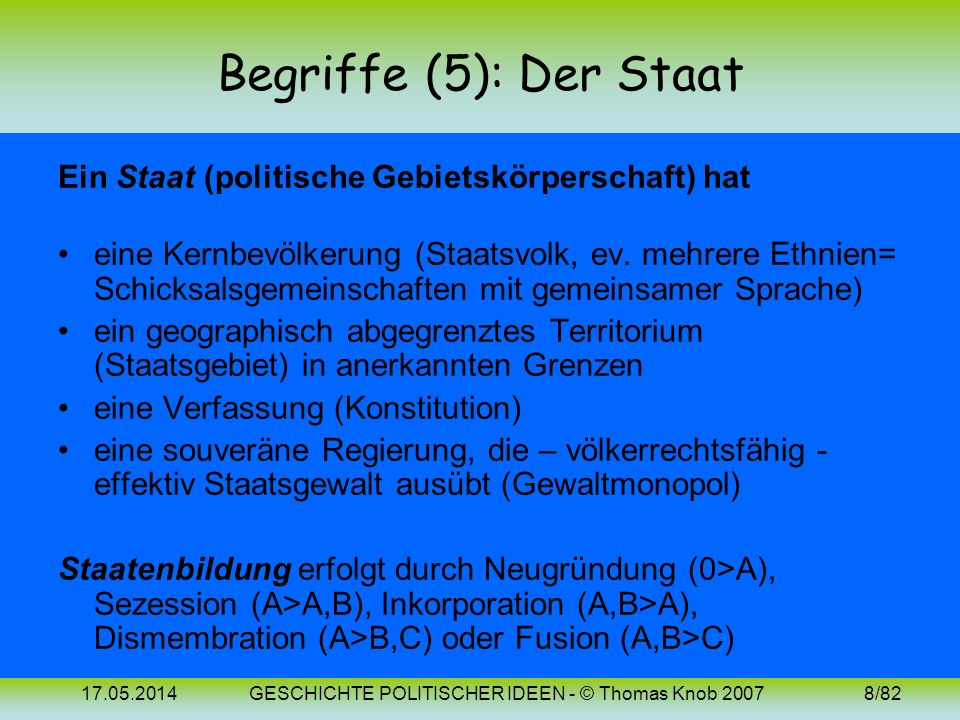 17.05.2014GESCHICHTE POLITISCHER IDEEN - © Thomas Knob 20078/82 Begriffe (5): Der Staat Ein Staat (politische Gebietskörperschaft) hat eine Kernbevölkerung (Staatsvolk, ev.