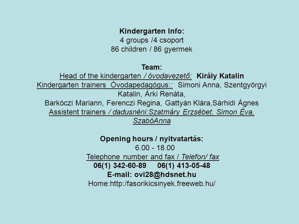 Kindergarten Info: 4 groups /4 csoport 86 children / 86 gyermek Team: Head of the kindergarten / óvodavezető: Király Katalin Kindergarten trainers Óvo