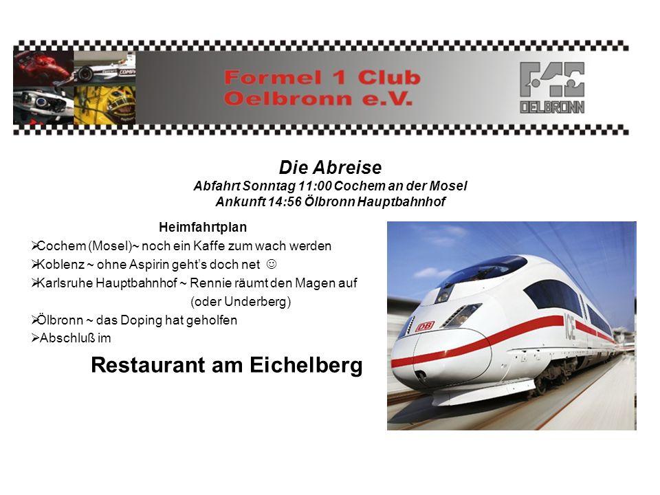 Die Abreise Abfahrt Sonntag 11:00 Cochem an der Mosel Ankunft 14:56 Ölbronn Hauptbahnhof Heimfahrtplan Cochem (Mosel)~ noch ein Kaffe zum wach werden