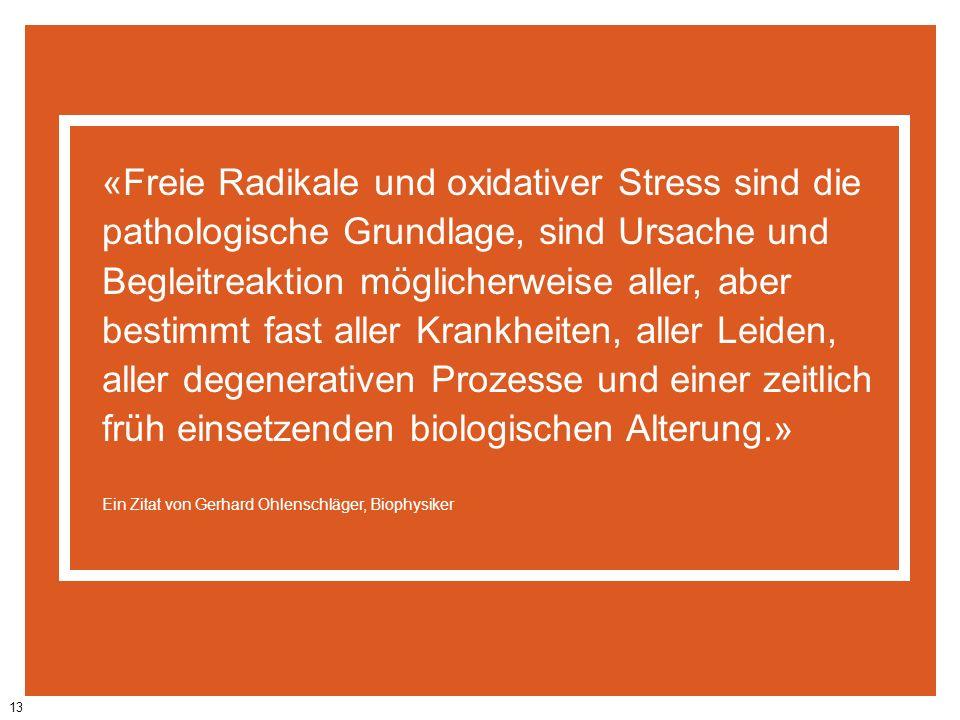 13 «Freie Radikale und oxidativer Stress sind die pathologische Grundlage, sind Ursache und Begleitreaktion möglicherweise aller, aber bestimmt fast a