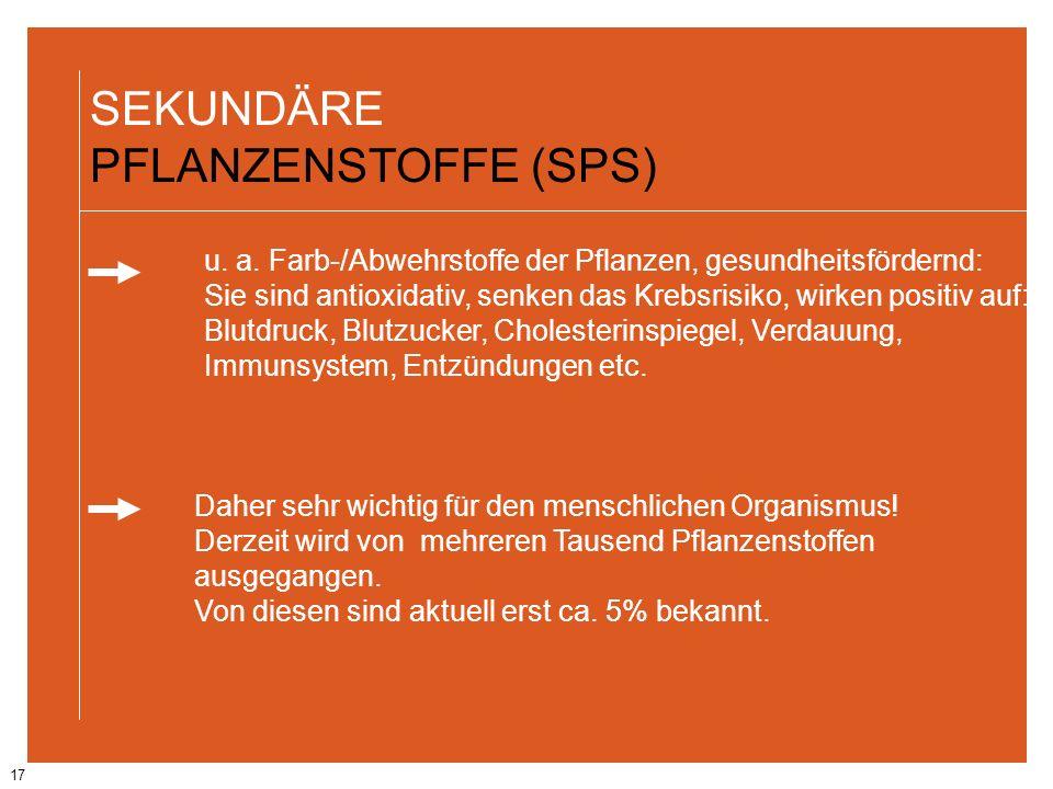 17 SEKUNDÄRE PFLANZENSTOFFE (SPS) u. a. Farb-/Abwehrstoffe der Pflanzen, gesundheitsfördernd: Sie sind antioxidativ, senken das Krebsrisiko, wirken po