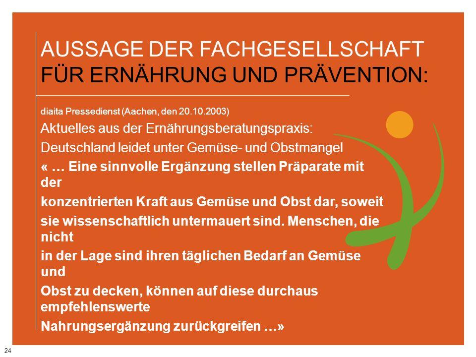 24 AUSSAGE DER FACHGESELLSCHAFT FÜR ERNÄHRUNG UND PRÄVENTION: diaita Pressedienst (Aachen, den 20.10.2003) Aktuelles aus der Ernährungsberatungspraxis