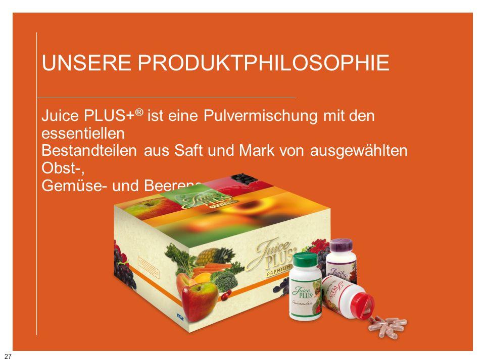 27 UNSERE PRODUKTPHILOSOPHIE Juice PLUS+ ® ist eine Pulvermischung mit den essentiellen Bestandteilen aus Saft und Mark von ausgewählten Obst-, Gemüse