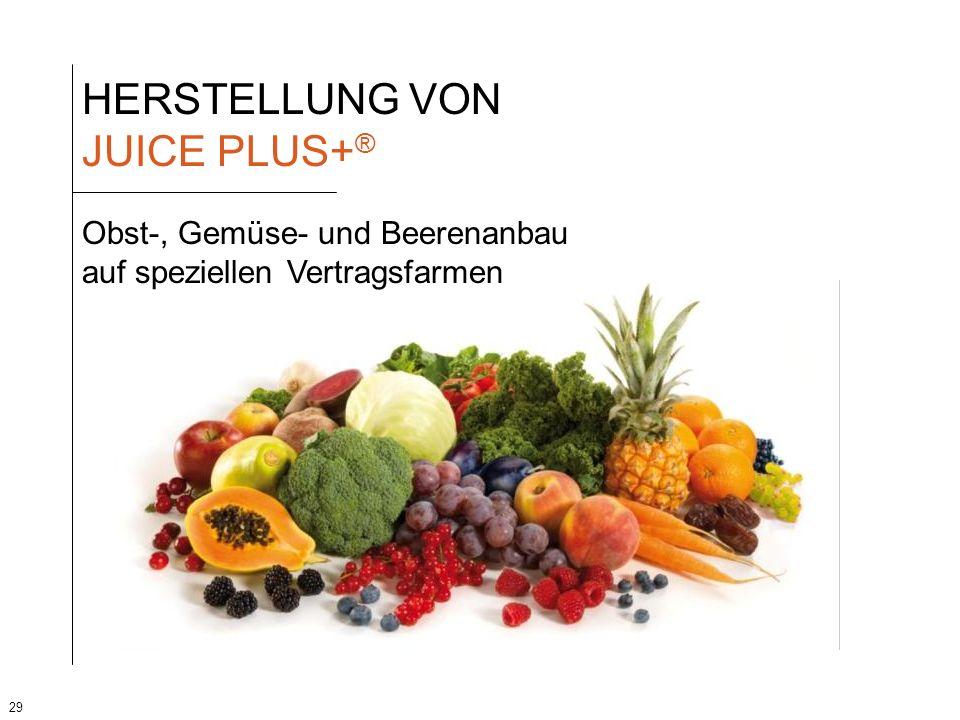 29 HERSTELLUNG VON JUICE PLUS+ ® Obst-, Gemüse- und Beerenanbau auf speziellen Vertragsfarmen