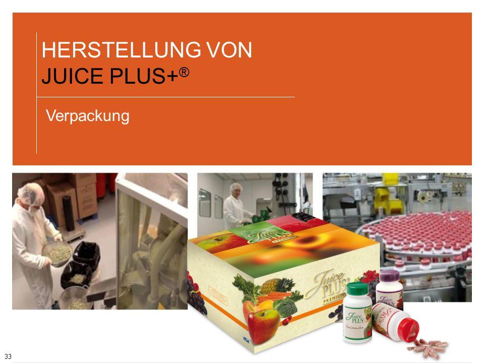 33 HERSTELLUNG VON JUICE PLUS+ ® Verpackung