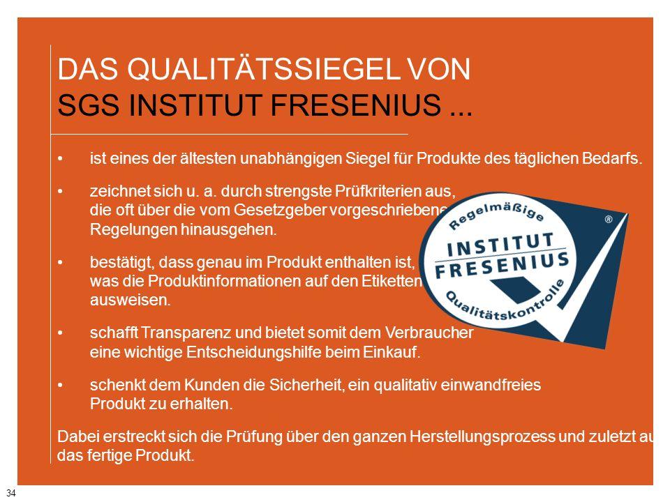 34 DAS QUALITÄTSSIEGEL VON SGS INSTITUT FRESENIUS... ist eines der ältesten unabhängigen Siegel für Produkte des täglichen Bedarfs. zeichnet sich u. a