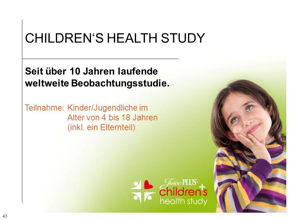 43 CHILDRENS HEALTH STUDY Seit über 10 Jahren laufende weltweite Beobachtungsstudie. Teilnahme: Kinder/Jugendliche im Alter von 4 bis 18 Jahren (inkl.