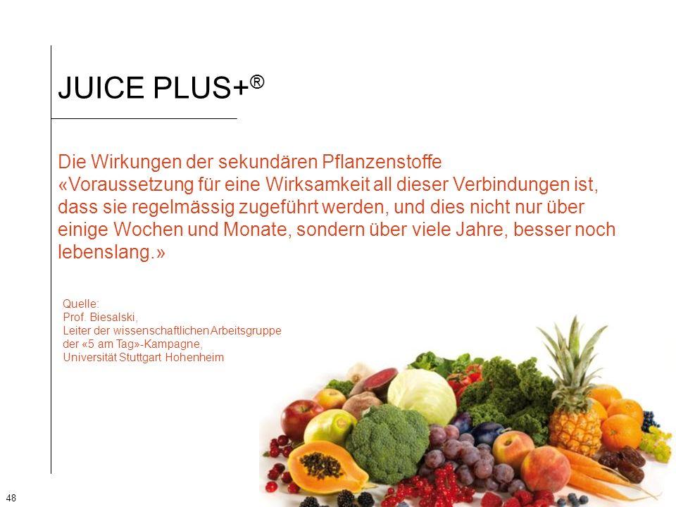 48 JUICE PLUS+ ® Die Wirkungen der sekundären Pflanzenstoffe «Voraussetzung für eine Wirksamkeit all dieser Verbindungen ist, dass sie regelmässig zug