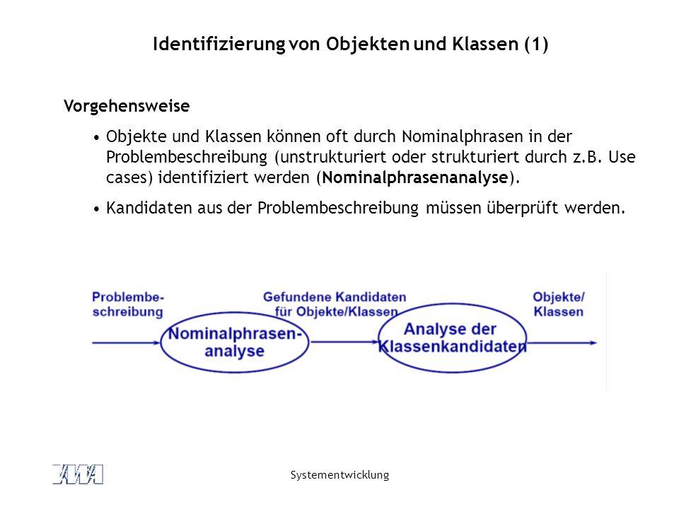 Systementwicklung Identifizierung von Objekten und Klassen (1) Vorgehensweise Objekte und Klassen können oft durch Nominalphrasen in der Problembeschr
