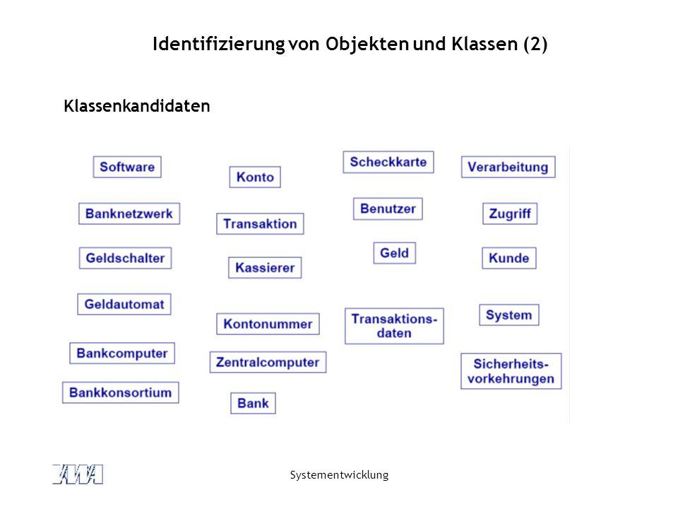 Systementwicklung Identifizierung von Objekten und Klassen (3) Kriterien zur Wahl der richtigen Klassen Eine Klasse für ein Konzept (keine redundanten Klassen) Eliminierung von irrelevanten Klassen (Klassen, die nicht zum Problembereich gehören).
