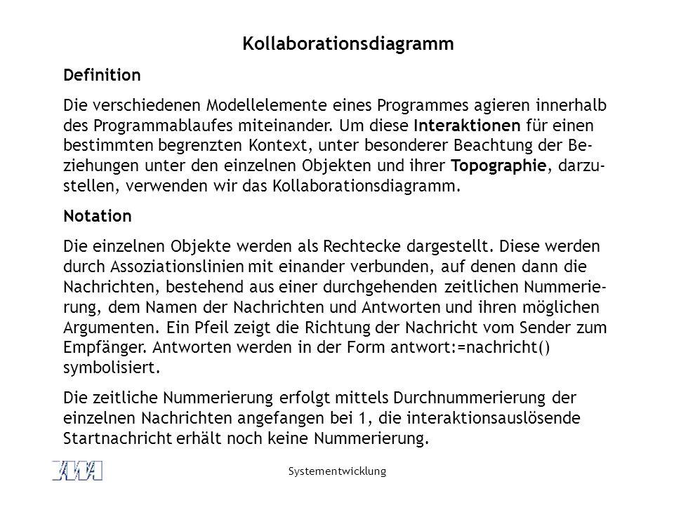 Systementwicklung Kollaborationsdiagramm - Beispiel