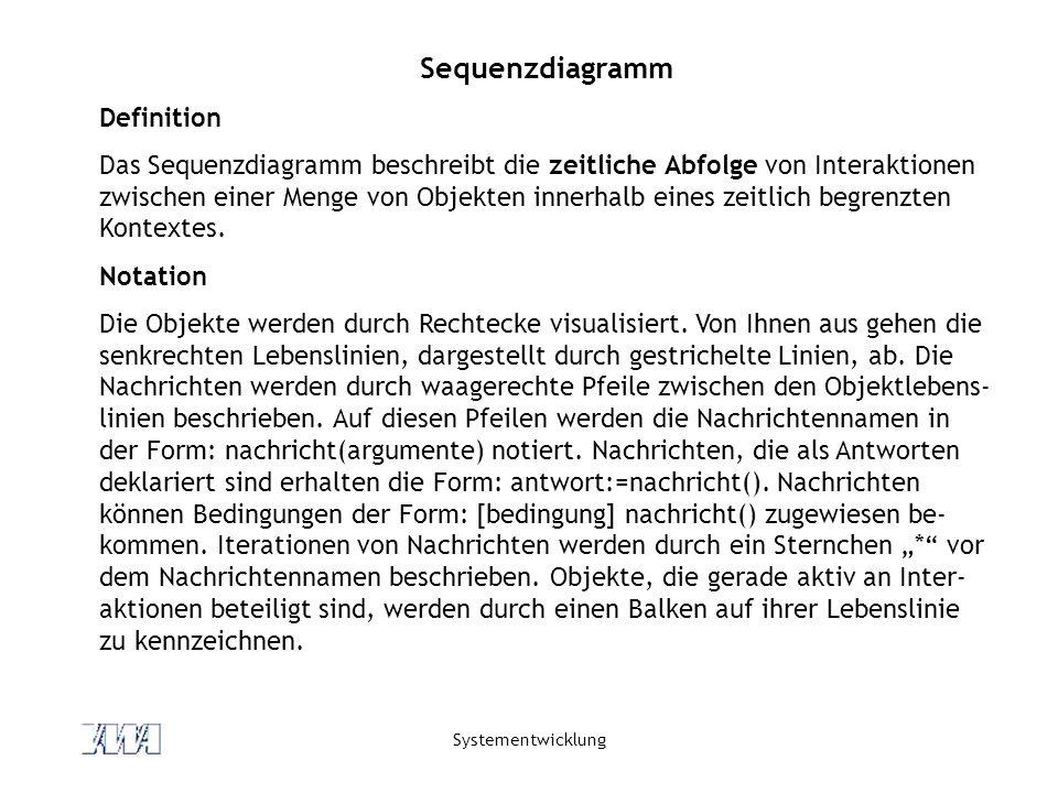 Systementwicklung Sequenzdiagramm Definition Das Sequenzdiagramm beschreibt die zeitliche Abfolge von Interaktionen zwischen einer Menge von Objekten