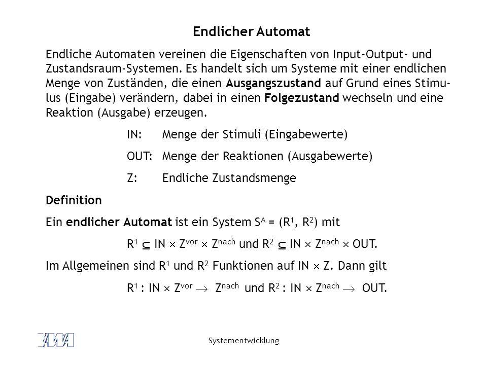 Systementwicklung Endlicher Automat Endliche Automaten vereinen die Eigenschaften von Input-Output- und Zustandsraum-Systemen. Es handelt sich um Syst