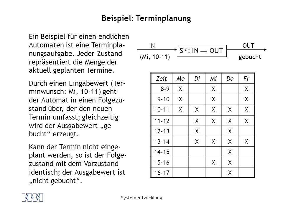 Systementwicklung Ein Beispiel für einen endlichen Automaten ist eine Terminpla- nungsaufgabe. Jeder Zustand repräsentiert die Menge der aktuell gepla
