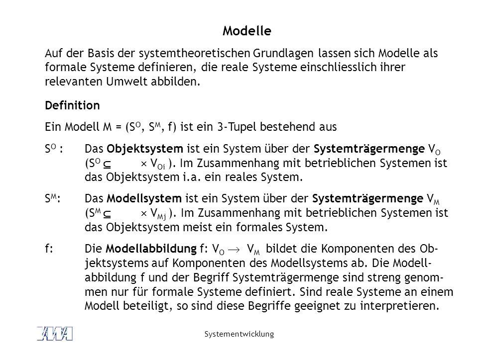 Systementwicklung Modelle Auf der Basis der systemtheoretischen Grundlagen lassen sich Modelle als formale Systeme definieren, die reale Systeme einsc