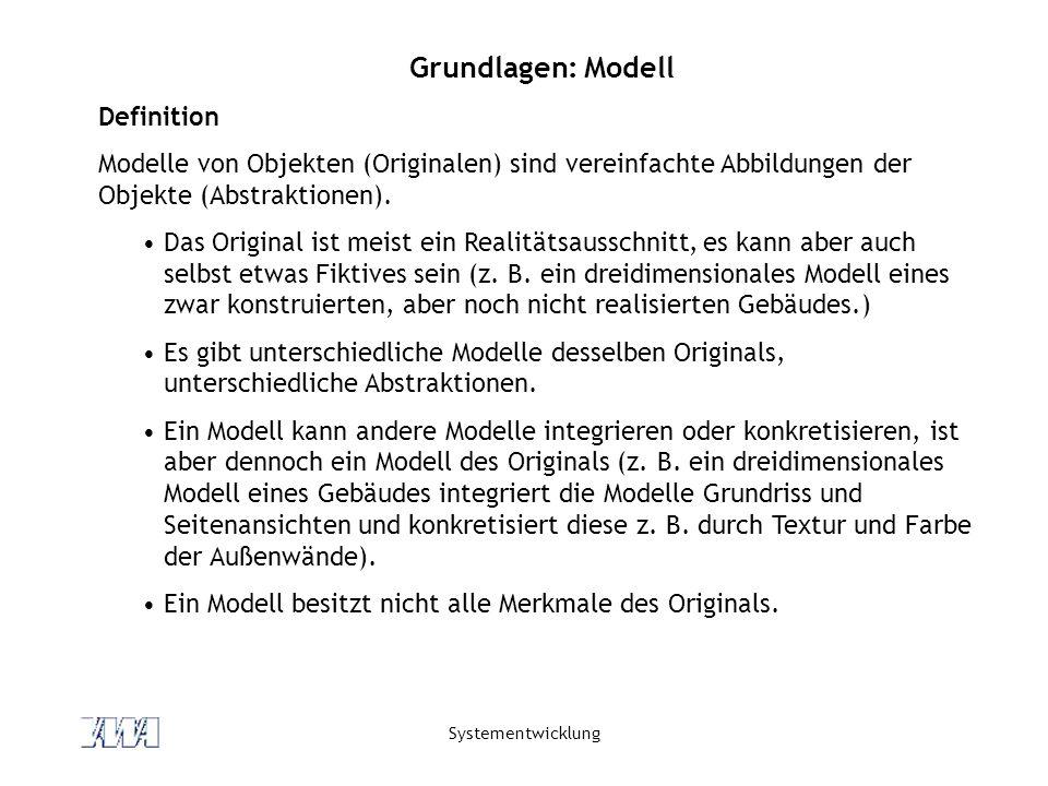Systementwicklung Grundlagen: Modell Definition Modelle von Objekten (Originalen) sind vereinfachte Abbildungen der Objekte (Abstraktionen). Das Origi