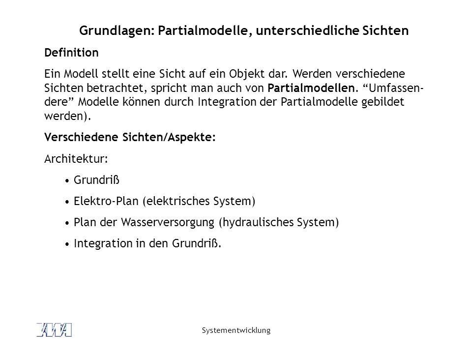 Systementwicklung Grundlagen: Partialmodelle, unterschiedliche Sichten Definition Ein Modell stellt eine Sicht auf ein Objekt dar. Werden verschiedene