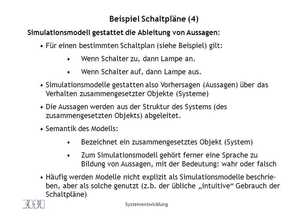 Systementwicklung Beispiel Schaltpläne (4) Simulationsmodell gestattet die Ableitung von Aussagen: Für einen bestimmten Schaltplan (siehe Beispiel) gi