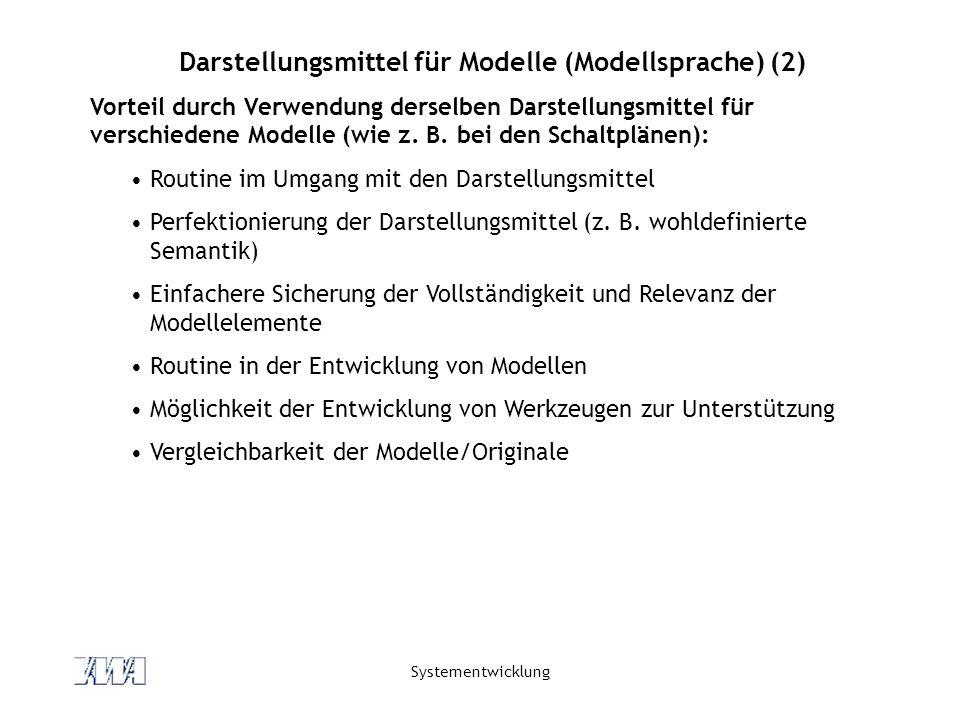 Systementwicklung Darstellungsmittel für Modelle (Modellsprache) (2) Vorteil durch Verwendung derselben Darstellungsmittel für verschiedene Modelle (w